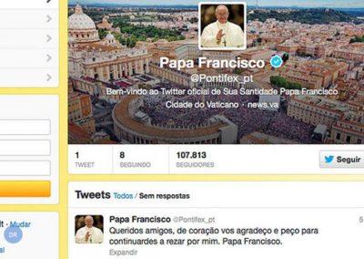 Conta do Papa no Twitter com 12 milhões de seguidores