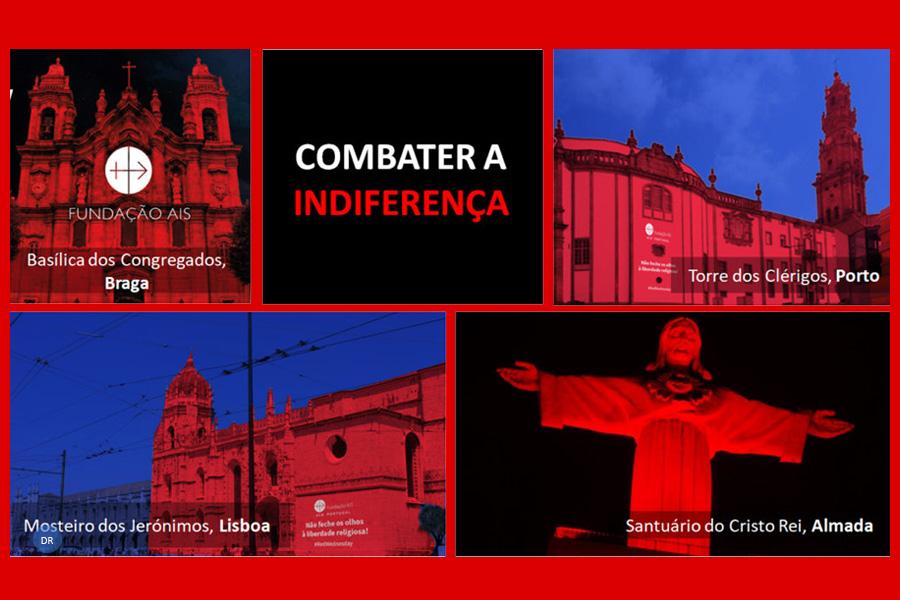 Monumentos iluminados de vermelho recordam perseguição aos cristãos